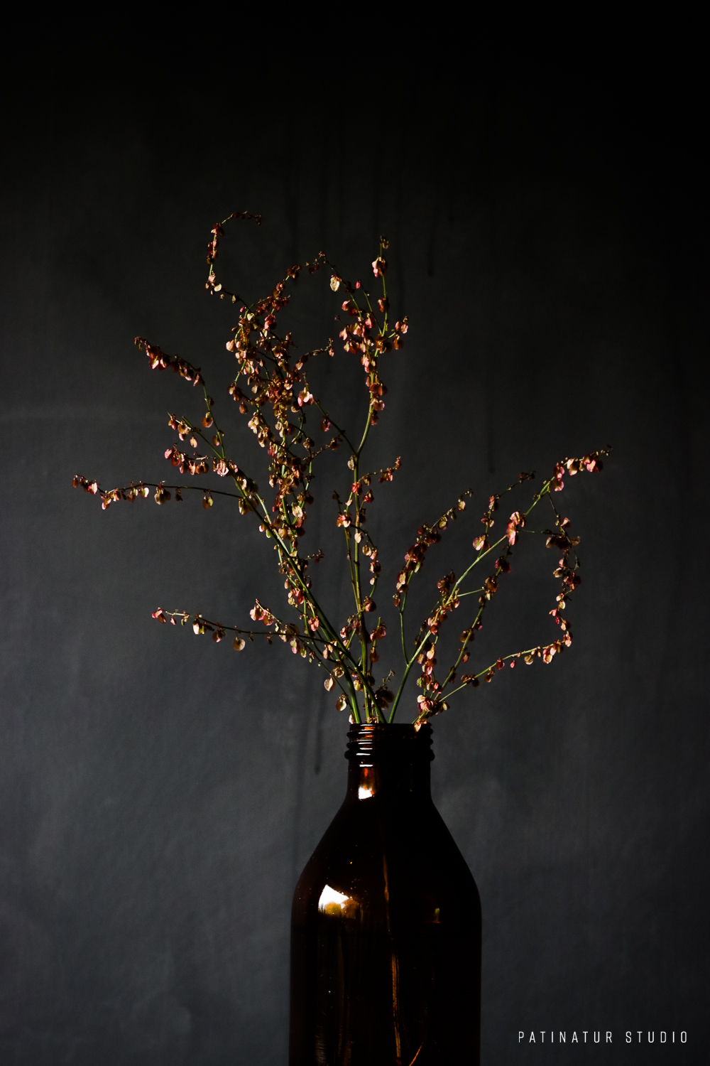 Photo art | Dark and moody still life with weed in brown glass bottle