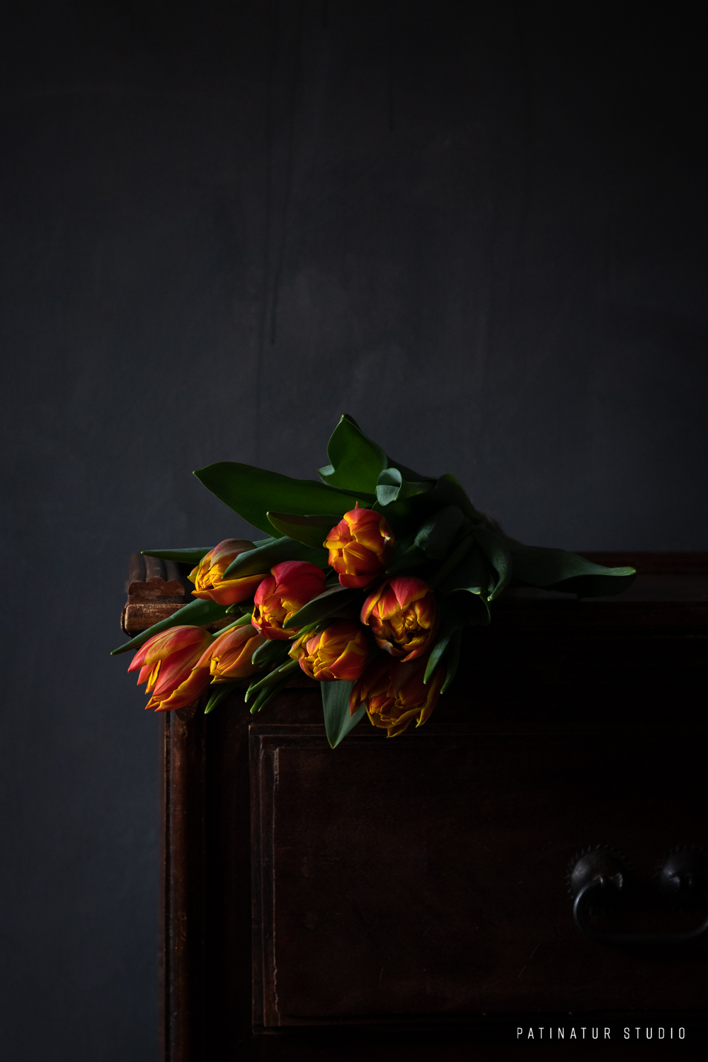 Photo art | Dark and moody still life with red and yellow tulips
