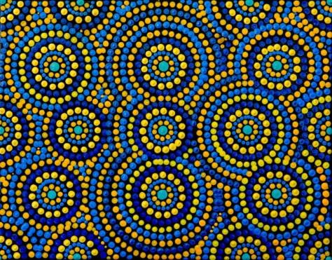 Rain drops on billabong in Uluru 455 mm x 355 mm Acrylic on canvas Dino Damiani 2017 $250
