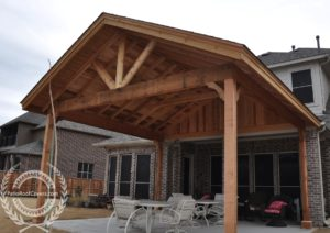 gable roofs attached to house patio