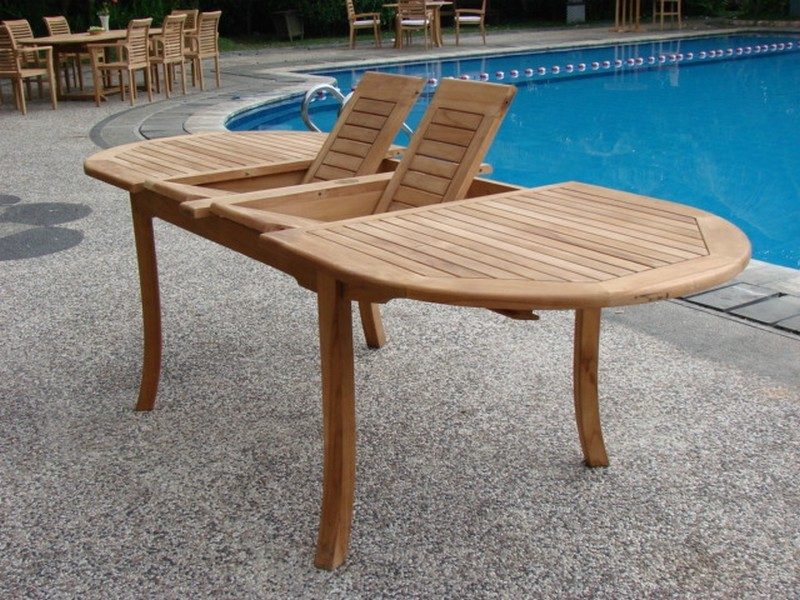 Grade-A Teak 94' Wood Oval Outdoor Dining Table