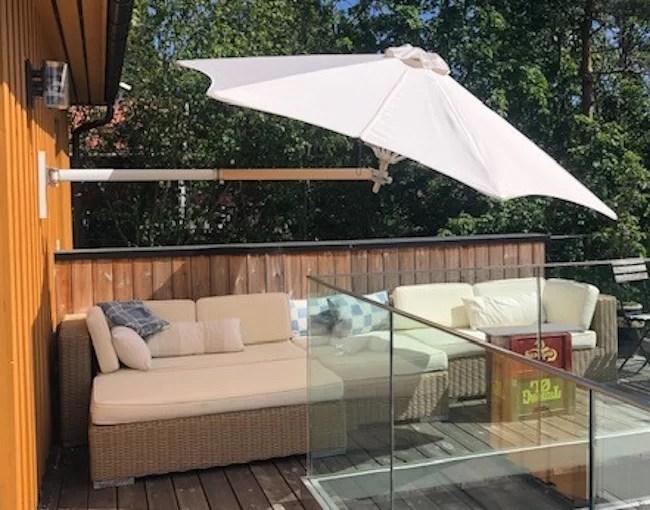 paraflex 2 7m and 3 0m hexagonal solidum wall mounted parasols