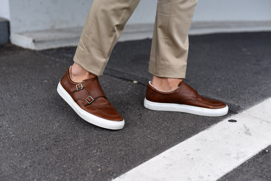 brown monk double strap sneaker patkahlo