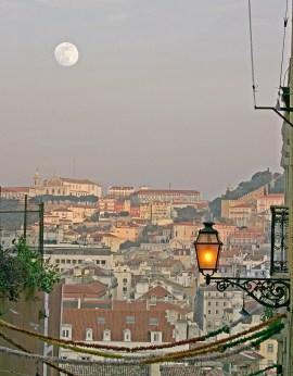 Lisbon Cityscape & Moon