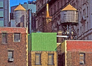 Water Tanks, Digital Painting on Photograph