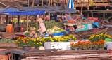 Cantho Vietnam floating market dock flowers