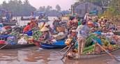Cantho Vietnam floating market sunrise metal building