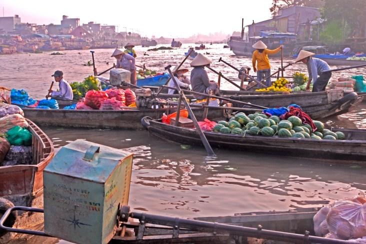Cantho Vietnam floating market sunrise