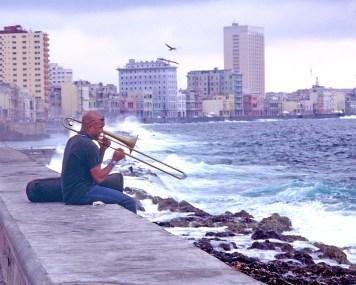 The Trombone Player on Malecon, Havana
