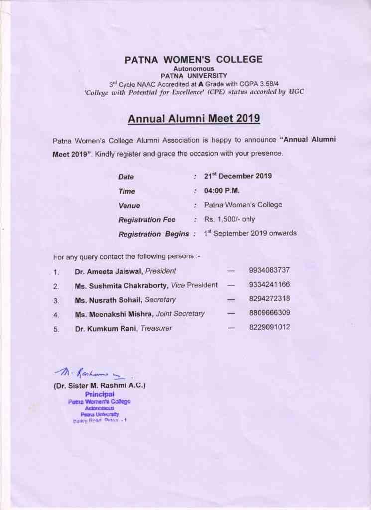 Top College in Patna | Alumni-Notice-2019-1