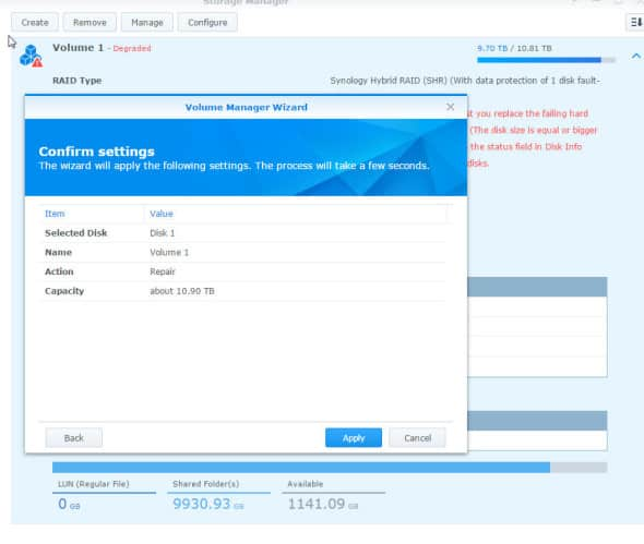 Synology Degraded Mode Repair 2