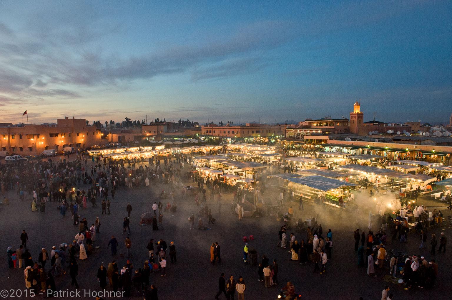 Place Jamaâ El Fna, Marrakech, Maroc