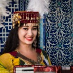 Girl in traditional costume, Khiva, Uzbekistan