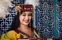 Girl in traditional costume, Khiva, Uzbekistan