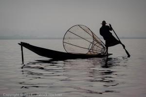 Rowing on the Inle Lake, Burma