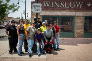 Group of bikers in Winslaw, Arizona along the Route 66