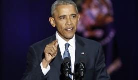 O presidente dos Estados Unidos Barack Obama faz seu discurso de despedida