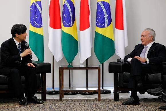 Brasília - O presidente Michel Temer recebe o príncipe herdeiro do Japão, Naruhito, no Palácio do Planalto (Marcos Corrêa/PR)