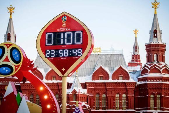 Relógio em Moscou marca a contagem regressiva de 100 dias para a Copa da Rússia 2018