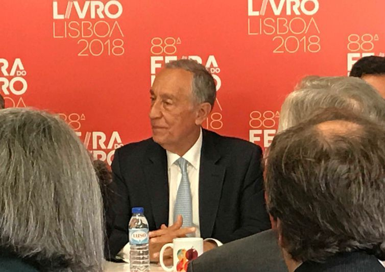 O presidente português, Marcelo Rebelo de Souza, abre a Feira do Livro de Lisboa de 2018.