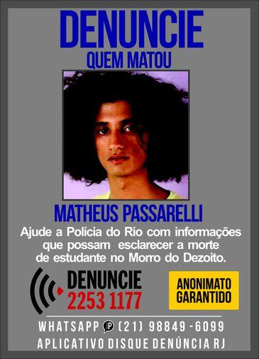 Disque-denúncia divulga cartaz para obter informações que possam ajudar na investigação sobre a morte da estudante Matheus Passarelli