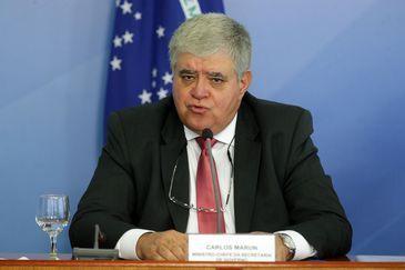 O ministro da Secretaria de Governo, Carlos Marun, durante entrevista coletiva, no Palácio do Planalto.