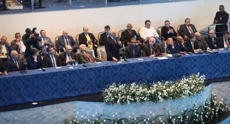 O presidente Michel Temer, participa da Assembleia Geral Extraordinária da Convenção Nacional das Assembleias de Deus no Brasil (Conamad), em Brasília.