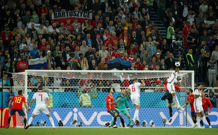 Copa 2018: Espanha e Marrocos. Youssef En-Nesyri, do Marrocos, marca o segundo gol da equipe.