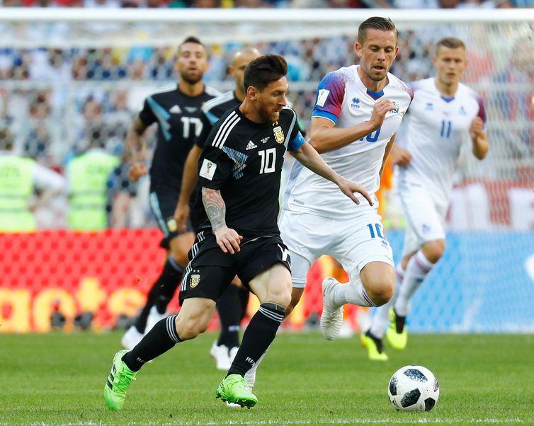 Copa 2018: Argentina e Islândia. Lionel Messi da Argentina em ação.