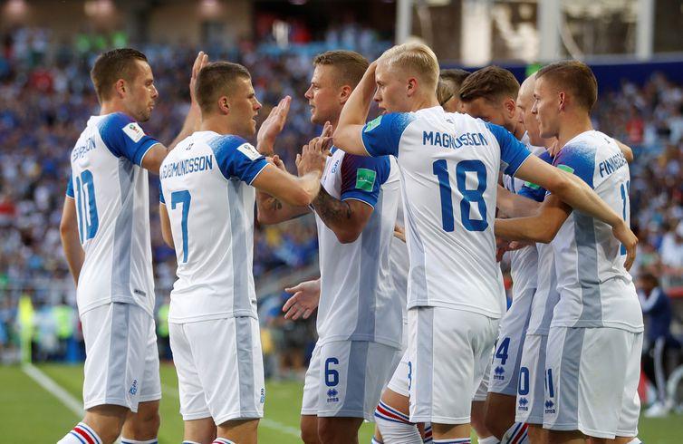 Copa 2018: Argentina e Islândia. Comemoração do primeiro gol da Islândia.