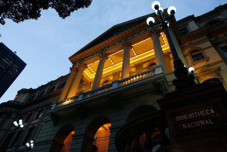Reinauguração da fachada restaurada da Biblioteca Nacional, na Cinelândia, Rio de Janeiro.
