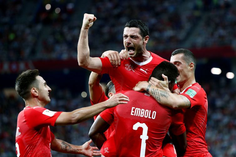 Copa 2018: Suíça e Costa Rica. Comemoração do primeiro gol da Suíça.