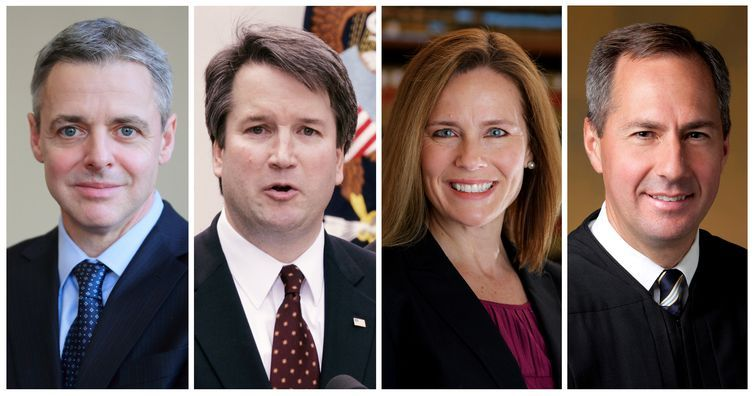 Os principais candidatos são os juízes de recursos federais Brett Kavanaugh, Raymond Kethledge, Amy Coney Barrett e Thomas Hardiman