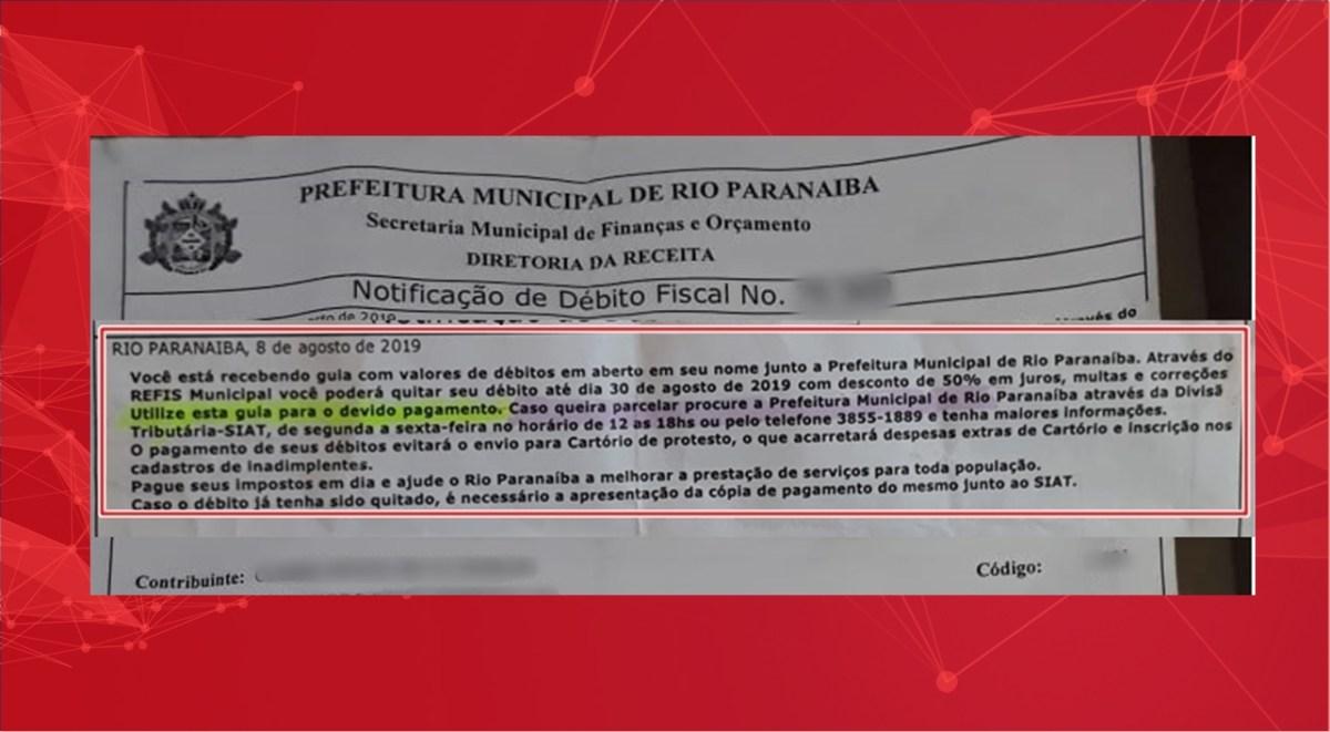 Cobrança de IPTU de mais de 5 anos gera polêmica em Rio Paranaíba