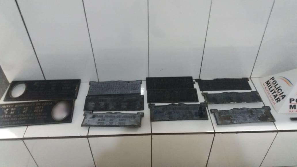 Suspeito de furtar placas no cemitério é preso em Patos de Minas