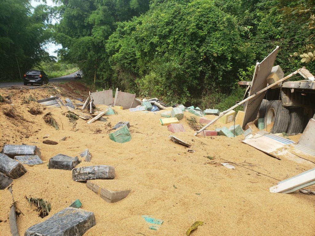 Caminhão de arroz tomba e mais de 6 toneladas de maconha são apreendidas