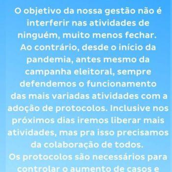 Prefeito de Patos de Minas, Falcão, defende flexibilização
