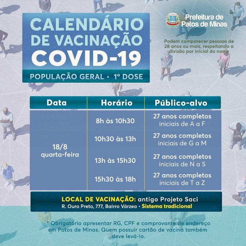 calendário vacinação covid-19 patos de minas