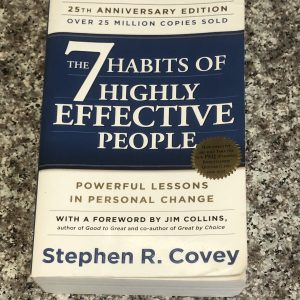paperback book: 7 habits of highly effective people