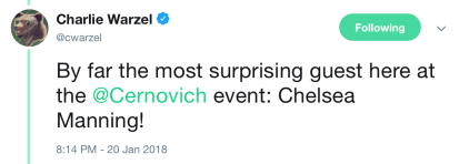 Tweet showing Manning partied with Mike Cernovich