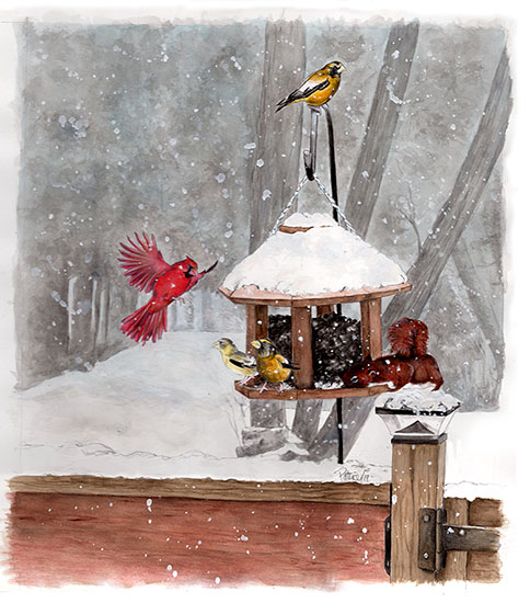 Winter's Lunch Painting by Patrice - Watch as Patrice creates this painting on https://www.instagram.com/patrices_art