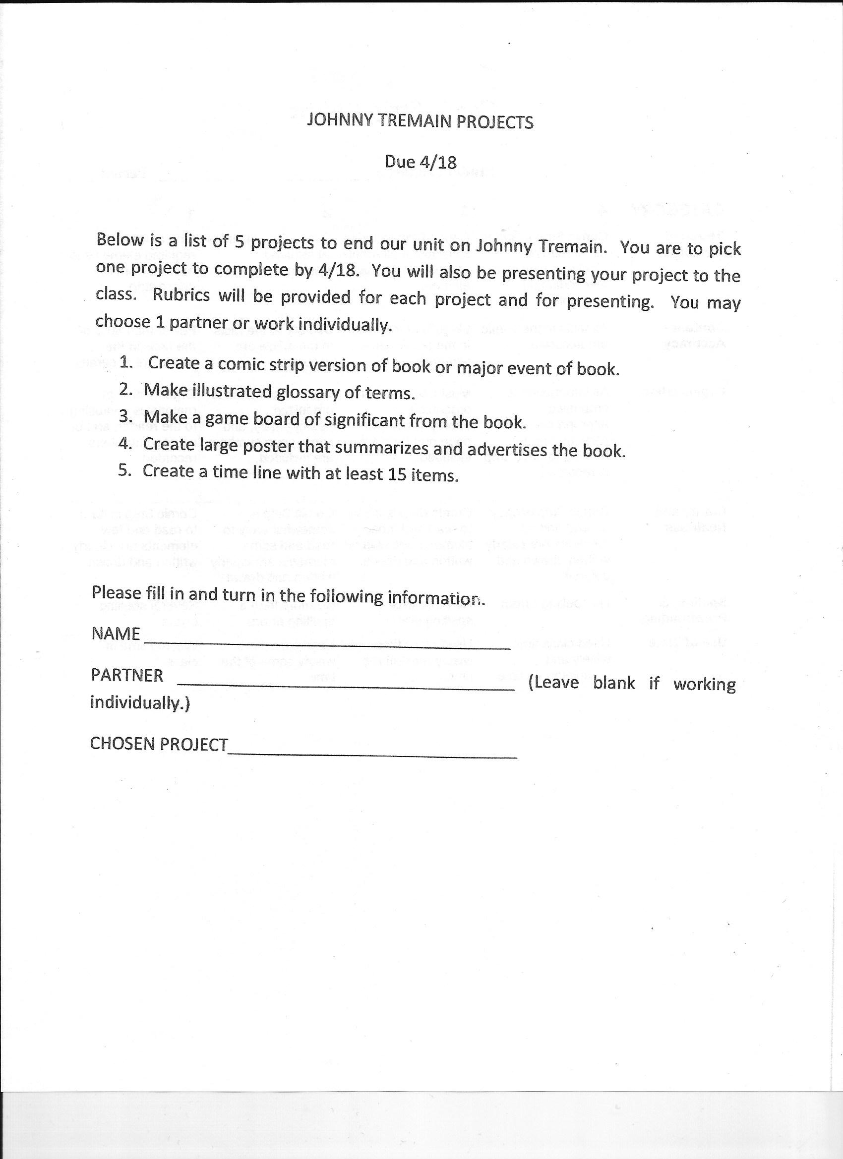 Vocabulary Worksheet Johnny Tremain
