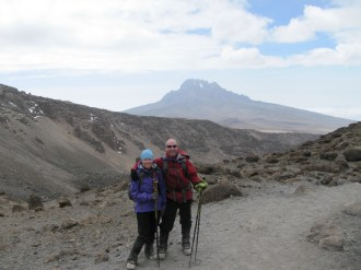 Here's a view of Mt. Meru from the descent.