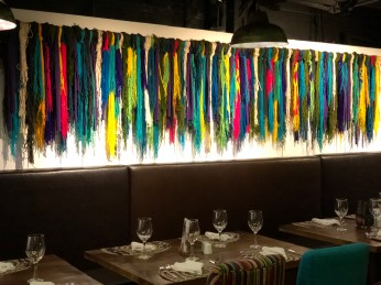 I loved this decoration--colorful yarn.