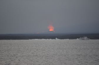 Volcano eruption on Isabela Island.