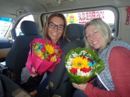 He bought us some flowers.
