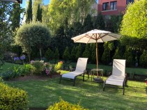 The hotel garden.