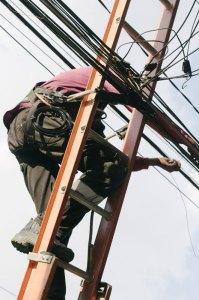 electrician on ladder - electrician-on-ladder