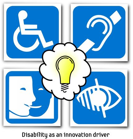 "Yellow light bulb over physical disability symbols with the caption ""disability as an innovation driver"""