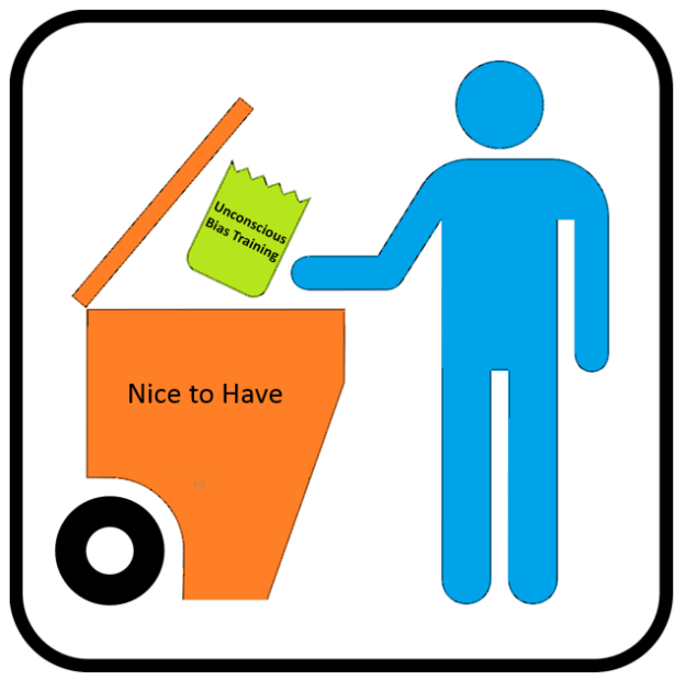 "A man throws a bag with the sign ""unconscious bias training"" in a trashcan with the label ""Nice to Have""."
